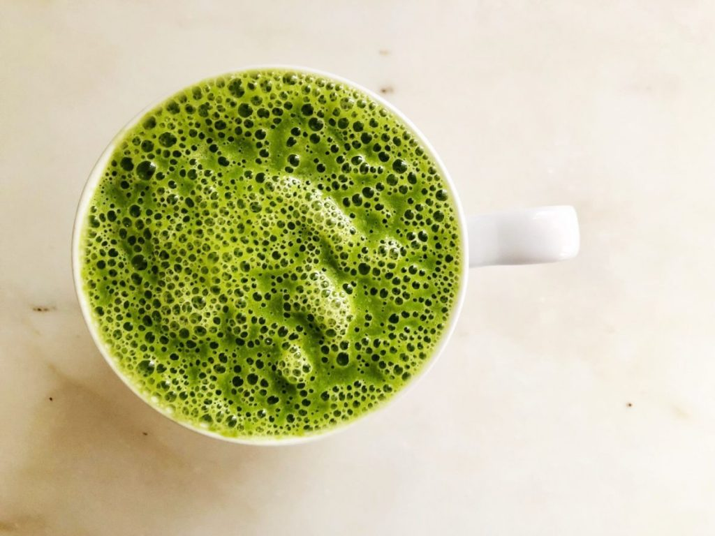 green ginger pear warm smoothie