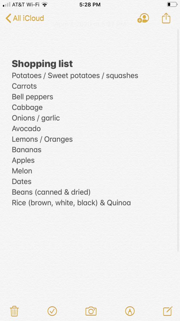 quarantine shopping list staples